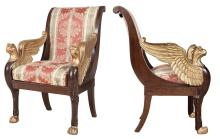 Pair of Northern European Mahogany and Parcel Gilt Armchairs