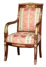 Empire Style Gilt-Metal Mounted and Parcel Gilt Mahogany Fauteuil a la Reine