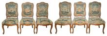 Set of Six French Provincial Beechwood Gros and Petit Point Needlework Upholstered Side Chairs