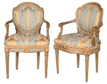 Pair of Italian Neoclassical Painted and Parcel Gilt Armchairs