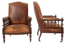 Pair of Victorian Leather Upholstered Beechwood Armchairs