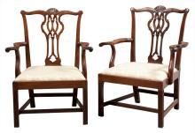 Pair of George III Irish Mahogany Open Armchairs
