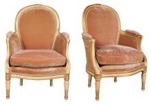 Pair of Louis XVI Style Painted and Parcel Gilt Bergères