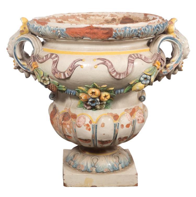 Italian fa ence polychrome decorated jardini re for Jardiniere decorative