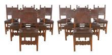 Set of Twelve Renaissance Style Walnut Dining Chairs