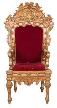 Italian Baroque Polychrome-Painted and Parcel-Gilt Throne Armchair