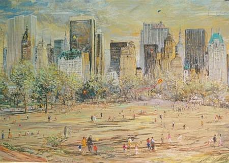 Kamil Kubik American, 20th Century Central Park in Summertime, 1973