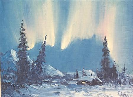 Ellen Henne Goodale American, 1915-1991 Alaskan Sled Dogs in the Snow and Northern Lights: Two