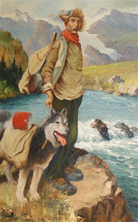 Harvey B. Goodale American, 1900-1980 Man with Husky in an Alaskan Landscape