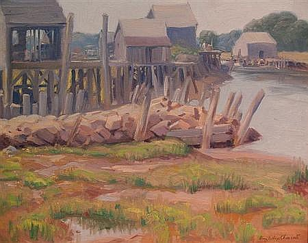 Alling MacKaye Clements American, 1891-1957 Dock Scene, Ogunquit, Maine