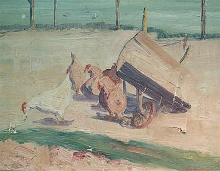 Hendrik (Henry) J. Glintenkamp American, 1887-1946 Hens in a Farmyard