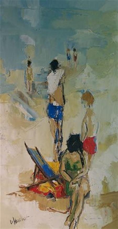 Emmanuel Urbain Huchet French, b. 1930 La Petit Fille a Plage