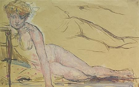 Jan De Ruth Czech/American, 1922-1991 Nude Studies: Two; T/W American/European School, 20th Cent., Reclining Nude.