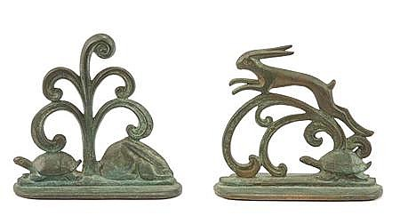 William F. Boogar American, 1893-1958 The Tortoise and the Hare: Pair of Bookends