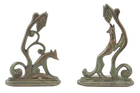 William F. Boogar American, 1893-1958 The Fox and the Grapes: Pair of Bookends