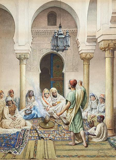 Filippo Bartolini Italian, 1861-1908 Harem Scene with Oud Player