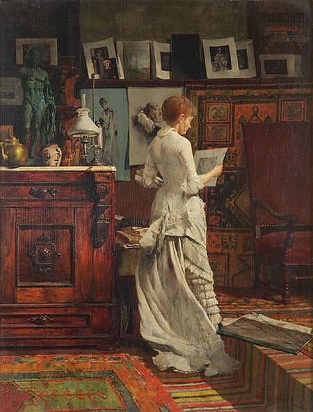 Louis Henry Charles Moeller American, 1855-1930 Elegant Woman Looking at a Print, 1885