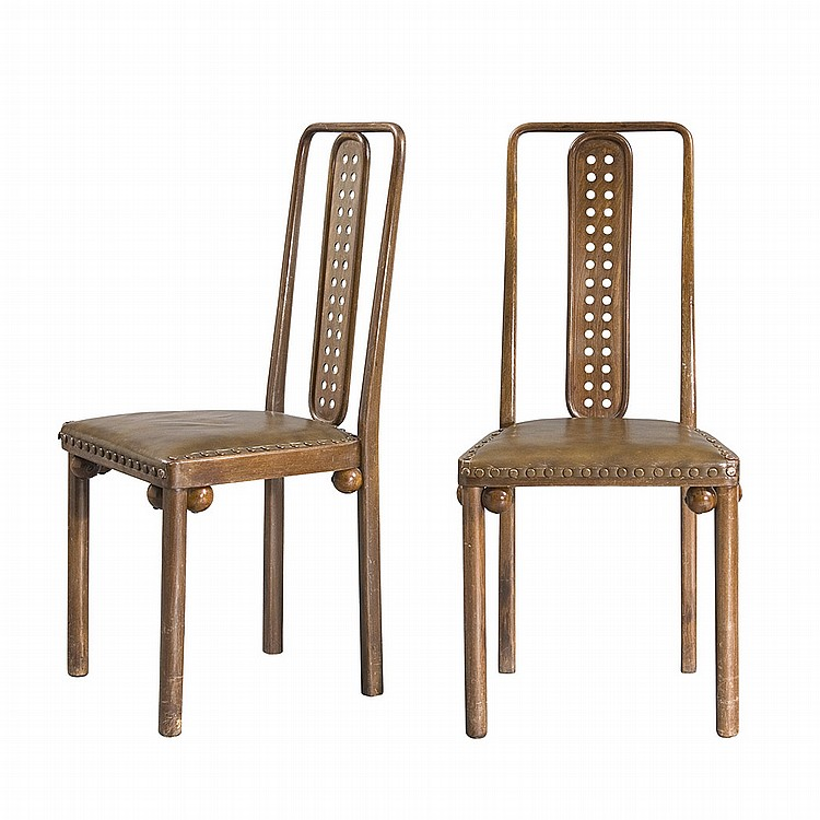 Josef Hoffmann Austrian, 1870-1956 Pair of Model 322 Side Chairs, designed 1904-1905 for Purkersdorf Sanatorium