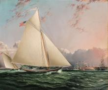 James Edward Buttersworth American/British, 1817-1894 The Phillip R. Paulding in New York Harbor with Castle Clinton in...