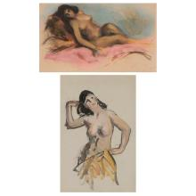 Robert (Henry Cozad) Henri American, 1865-1929 (i) Reclining Nude, Hawaiian Stamped Pastel 12 x 20 inches (i...