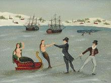 Ralph Eugene Cahoon, Jr. American, 1910-1982 Mermaids on Ice   Oil on Masonite 18 1/8 x 23 1/4 inches Provenan...