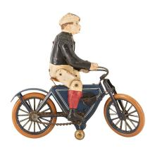 Boy with Bicycle Tin Litho Toy