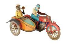 Tut-Tut Motorcycle with Sidecar Tin Litho Toy Paya Toys