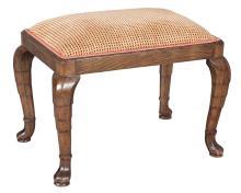 George I Style Walnut Upholstered Stool