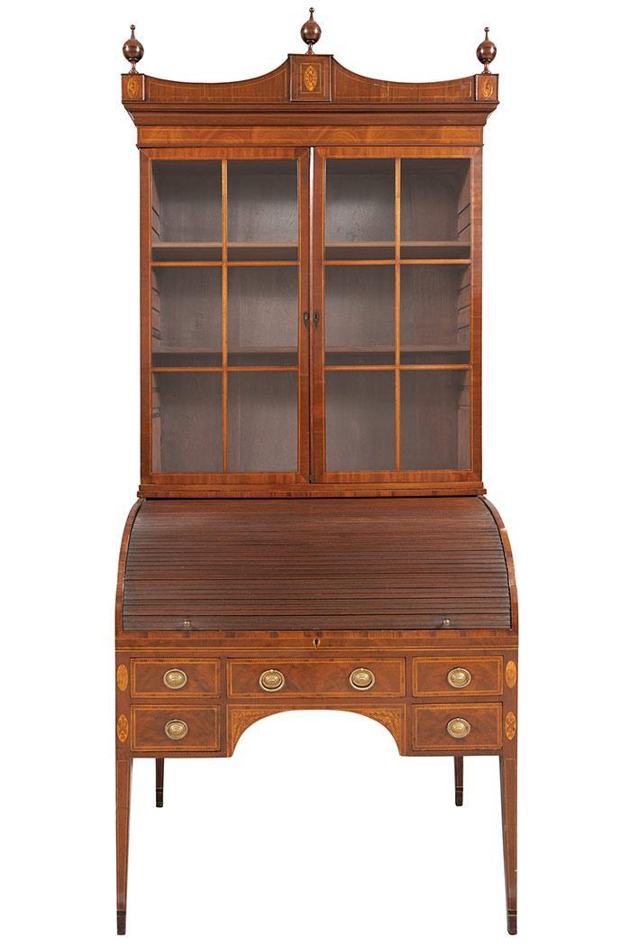 Federal Inlaid Mahogany Secretary Bookcase