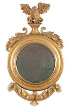 Classical Carved and Giltwood Convex Mirror