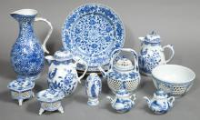Group of Chinese Blue and White Porcelain Articles   Probably 19th/20th century Comprising a pair of covered jugs, ewer, s...