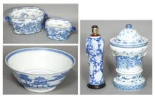 Group of Five Blue and White Ceramic Articles