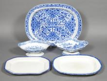 Group of English Blue and White Transfer Decorated Pottery Articles   19th Century Comprising three platters, and two frui...
