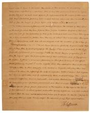 JEFFERSON, THOMAS Letter signed to Dr. Samuel Brown regarding the effect of high importation tariffs on books on American educa...