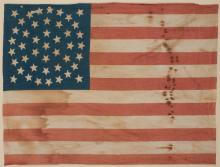 [WYOMING] A Forty-Four Star American Flag. Circa 1890. Cotton American flag with the stars in the canton arranged in t...