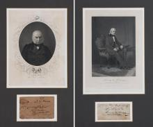 [PRESIDENTS] Group of five signed items, comprising MONROE, JAMES. Land grant signed, 1823, document on vellum, fol...
