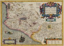 [MERCATOR, GERARDUS & HONDIUS, HENRICUS] Hispaniae Novae Nova. [Amsterdam: circa 1619 or later]. Hand-colored engraved...