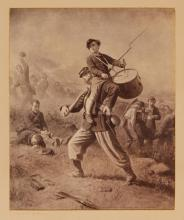 [CIVIL WAR] JOHNSON, EASTMAN. The Wounded Drummer Boy. Photographic reproduction of Johnson''s painting dated 1873 in the ima...