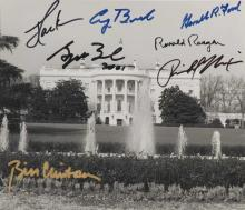 [PRESIDENTS] White House photograph signed by seven Presidents: Richard Nixon, Gerald Ford, Jimmy Carter, Ronald Reagan, George...