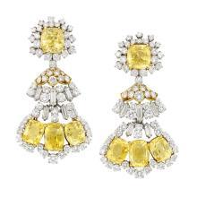 Pair of Platinum, Gold, Yellow Sapphire and Diamond Pendant-Earclips, David Webb