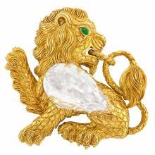 Gold, Rock Crystal and Cabochon Emerald Lion Clip-Brooch, David Webb