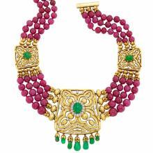 Multistrand Ruby Bead, Gold, Platinum, Cabochon Emerald, Emerald Bead and Diamond ''Ruby Mughal'' Necklace, David Webb