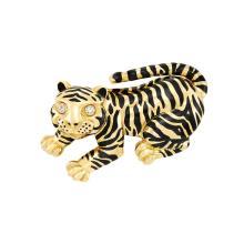 Gold, Black Enamel and Diamond Tiger Clip-Brooch, David Webb