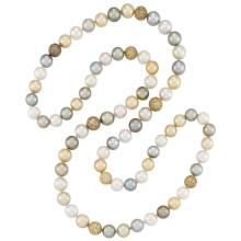 Long South Sea, Tahitian Gray and Golden Cultured Pearl, Two-Color Gold and Brown Diamond Necklace