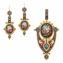 Antique Gold and Micromosaic Pendant-Brooch and Pair of Pendant-Earrings