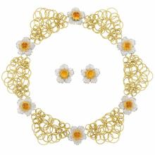 Two-Color Gold and Cabochon Citrine ''Hawaii'' Link Necklace and Pair of Flower Earclips, Buccellatti