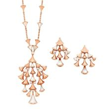 Rose Gold, Mother-of-Pearl and Diamond ''Diva''s Dream'' Pendant-Necklace and Pair of Earrings, Bulgari
