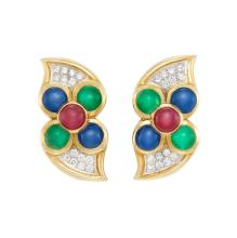 Pair of Gold, Platinum, Cabochon Colored Stone and Diamond Earrings, David Webb