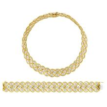 Two-Color Gold ''Rombi'' Necklace and Bracelet, Gianmaria Buccellati