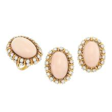 Pair of Gold, Platinum, Angel Skin Coral and Diamond Earrings and Ring